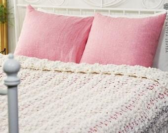 Linen pink pillow sham- softened linen sherbet rose pillow- housewife standard, queen, king sizes- pink linen pillow