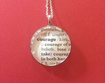 Courage - Bold - Move - Free - Imagine - book page necklaces