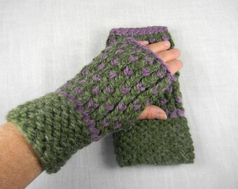Hand Knit Wrist Warmers, Hand Knit Fingerless Gloves, Hand Knit Fingerless Mittens