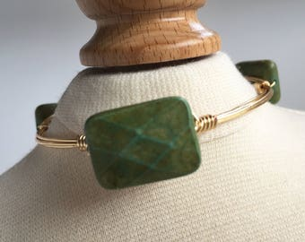 Faceted Green Turqoise Wire Wrapped Bangle, Wire Wrap Bangle, Wire Wrapped Bracelet, Stackable Bangle, Wire Bangle