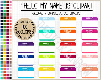 SALE 100 Hello My Name Is Printable Tags Stickers Rainbow