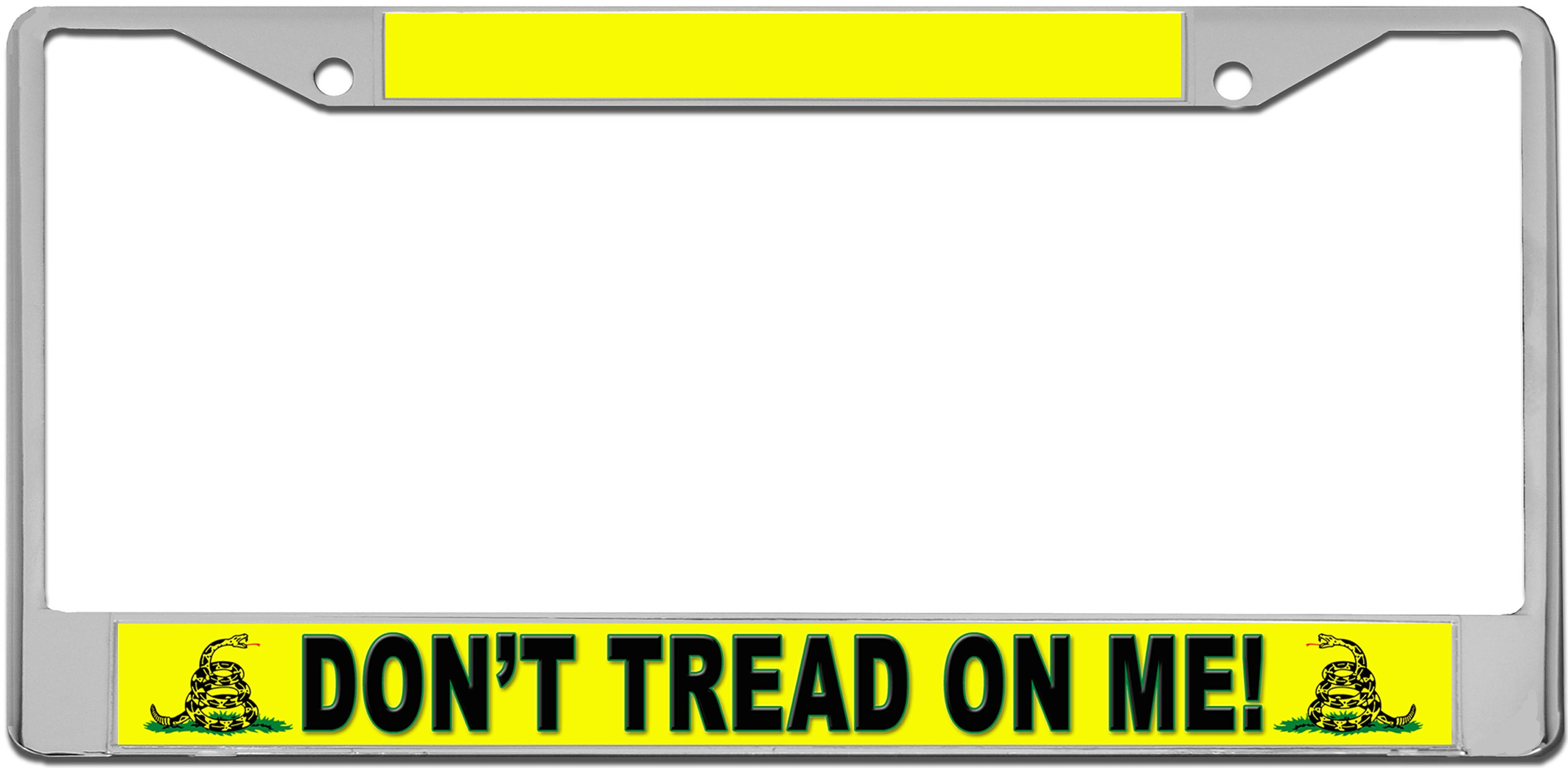 description features solid zinc metal license plate frame - Don T Tread On Me License Plate Frame