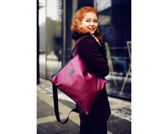 Fuchsia leather backpack, Convertible backpack, Deep Purple leather backpack, Upcycled leather backpack, Backpack Purse, Backpack