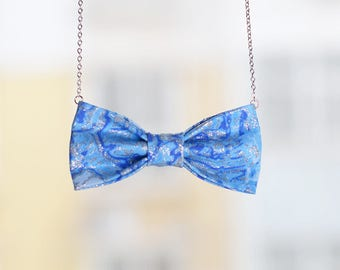 sliver blue bow tie necklace, accessory for women and girls, necklace,bow necklace,women necklace,girl necklace