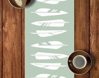 45 colors Feathers Table Runner, Rustic Table Runner Dining Room, Boho Chic Table Runner, Rustic Dining Room, Light Green Table Runner