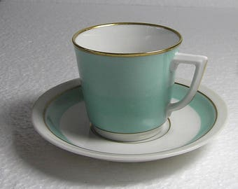 Art Deco  Royal Copenhagen Denmark  Pale Blue   Coffee  Cup and Saucer .Espresso Cup