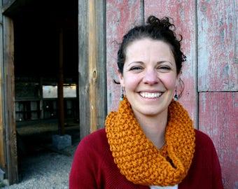 Chunky Knit Cowl: Mustard