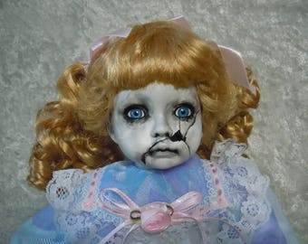 Creepy Doll with Cracked Face in Pretty Dress  #5 Dark Art  Day of the Dollies