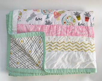 Mint, Pink, and Orange Succulent Twin/Throw Quilt