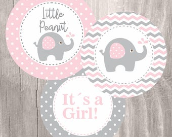 Pink Elephant Baby Shower Printable Centerpieces, Pink And Grey Elephant  Girl Baby Shower Centerpieces,