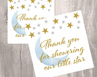 Twinkle little star printable favor tags, INSTANT DOWNLOAD, blue gold and silver baby shower stars favor tags