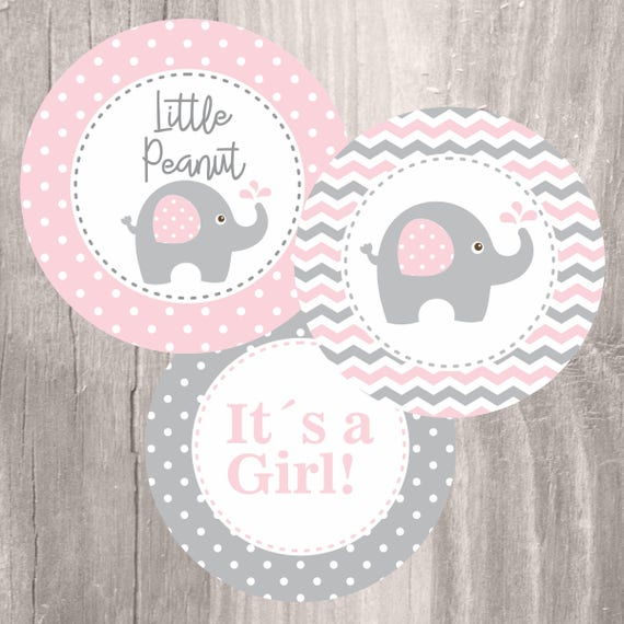 Pink Elephant Baby Shower Printable Centerpieces Pink and Grey