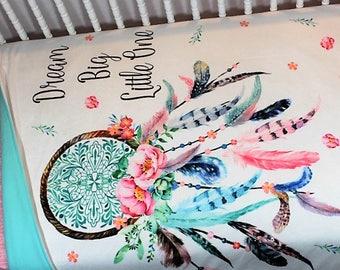 "Dream catcher Baby Blanket, ""Dream Big Little One"", Dreamcatcher Toddler Comforter, Dream Catcher Bedding, Baby Girl Blanket, Girl Blanket."