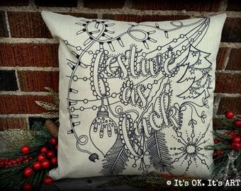 Festive As F*ck-Adult Coloring Pillow COVER ONLY - Funny pillow, mature, couch cushion, decor pillow, Christmas pillow, throw pillow