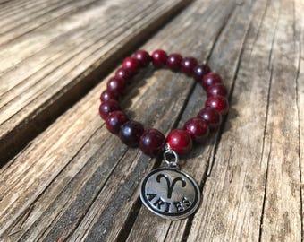 Aries Zodiac Beaded Stretch Bracelet