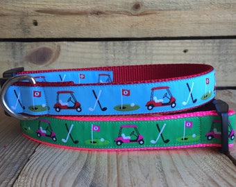 "Golf Dog Collar, golf cart Dog Collar, Pink Dog Collar, blue Dog Collar, Quick Release Buckle, 1"" Wide"