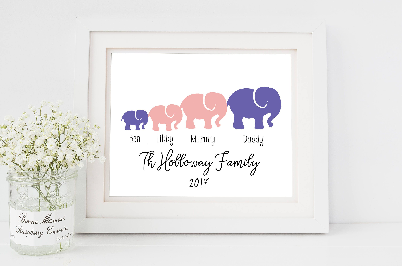 Elephant nursery wall art print mom baby dad by rizzleandrugee -  Zoom