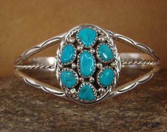 Navajo Artisan handmade Sterling Silver & Kingman Turquoise Cluster Bracelet (B)