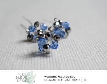 crystal hair pin | something blue for the bride | hair jewelry | bridesmaid set | bridal party gift | rhinestone hair pin | wedding hair pin