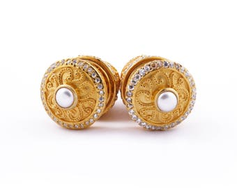 Gold Over Sterling Silver Tamiang Balinese Earrings, Balinese Traditional Earrings, Fine Quality