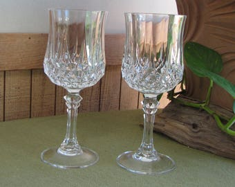 Cristal D'Arques Crystal Water Glasses Longchamps Pattern Vintage Barware Set of Two (2) Wineglasses