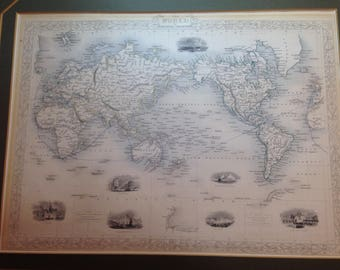 "Vintage Lithograph Map - ""The World on Mercator's Projection"" - World City Illustrations"