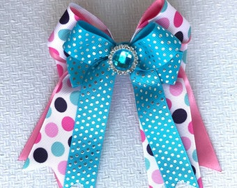 Horse show bows/equestrian clothing/pink blue sparkle gem/gift
