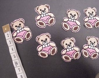 7 fusible patches Teddy bear pink