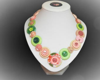 Button necklace - Just Peachy//vintage buttons/gifts for her/button jewelry/Christmas gift/Mothers day/birthday present/OOAK