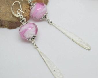 Pearl Earrings glass Lampwork Pink White Silver 925 earpins