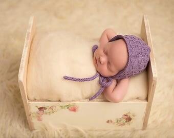 Baby hand knitted bonnet in purple/ merino knit textured hat fornewborn/ photo prop