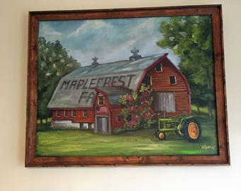 Maplecrest Farm, original art, oil painting,  landscape, americana