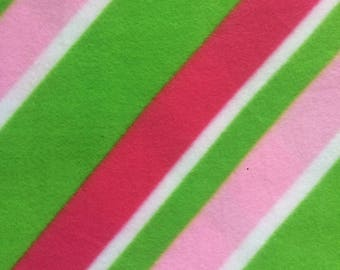 Fabric by the 1/2 Yard - Pink and Green Diagonal Stripes Polar Fleece