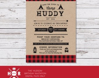 Printable - The 'Hudson' Camping | Lumberjack | Woodland | Forest | Outdoor | Adventure Birthday Invitation