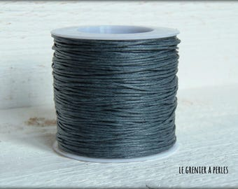 5 M Gray Blue 1 mm waxed cotton cord