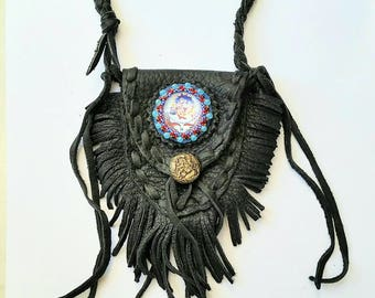 Fringed Leather Medicine Bag~ Black leather neck pouch~ Fringed Hippie Groove Bag~ Beaded Grateful Dead inspired Steal Your Face leather bag