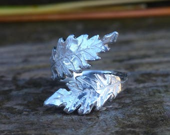 sterling silver ring crossed leaves