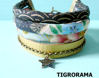 Bracelet multi-row Japanese cords, gold leather and black and blue Japanese paper