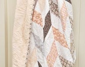 Baby Girl Quilt, Herringbone pattern, Soft peach, coral, gray, taupe and white. Possible twin girl companion in shop