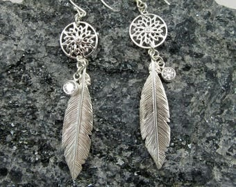 Feather and disc with cz earrings