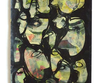 Original Acrylic Abstract Heads Faces Figures Painting on recycled pocket book page, Original Drawing Figurative Art