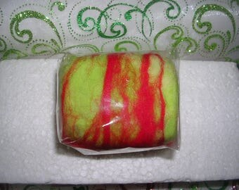 Felted SOAP - WINNIPEG - green from Lime/yellow gold/red