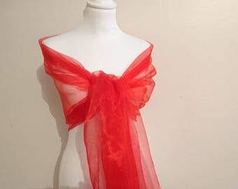 Red wedding organza evening shawl bridal gala ceremony 70/200 cm