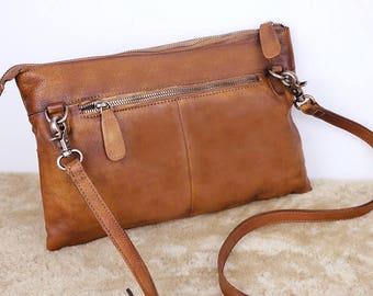 RIVETS Shoulder Bag, Leather Bag, Brown Leather Shoulder Bag, Crossbody Bag, Leather Handbag, Leather Purse, Leather Clutch