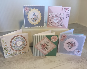 Set of 5 beautifully handmade, individual floral luxury cards, birthday, greeting cards