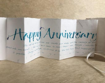 Happy Aniversary, calligraphy on cornflower petal paper, wife or husband or partner anniversary card, luxury 1st anniversary card