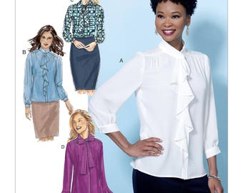 Butterick Pattern B6488 Misses' Tops with Neckline and Sleeve Variations