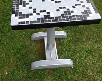 Year 30 bistro table redesigned with mosaic tesserae glass blocks