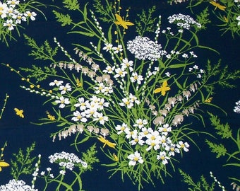 Vintage Navy Blue with White, Yellow, Green and Beige Floral Design Fabric by House 'n Home Fabrics and Draperies Inc,