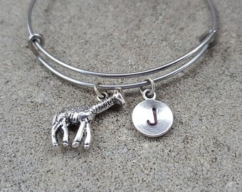 Giraffe Bracelet, Giraffe Silver Bangle, Silver  Bangle, Initial Bracelet, Expandable Bangle, Adjustable Bracelet, Giraffe Bangle